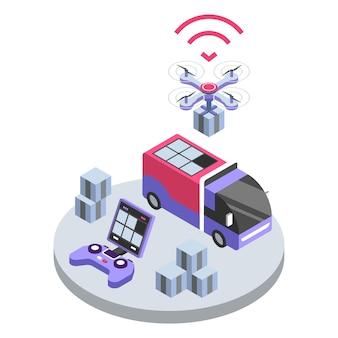 配信ドローンリモートコントロールカラーイラスト。 uavは小包を配達します。宅配便サービスのスマートテクノロジー。白い背景の上のパッケージ出荷コンセプト