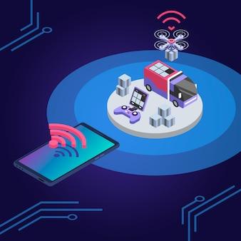 配信ドローンリモートコントロール等尺性カラーイラスト。 uavは小包を配達します。宅配便サービスのスマートテクノロジー。青色の背景に分離された出荷監視スマートフォンアプリ3 dコンセプト