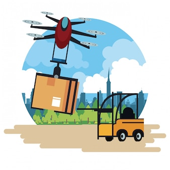 Delivery drone and vehicle at city