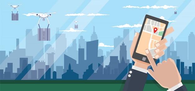 街の背景にパッケージの配達用ドローン。高速で便利な輸送コンセプト。手は、配信を追跡するためのスマートフォンを保持しています。追跡システム、イラスト。