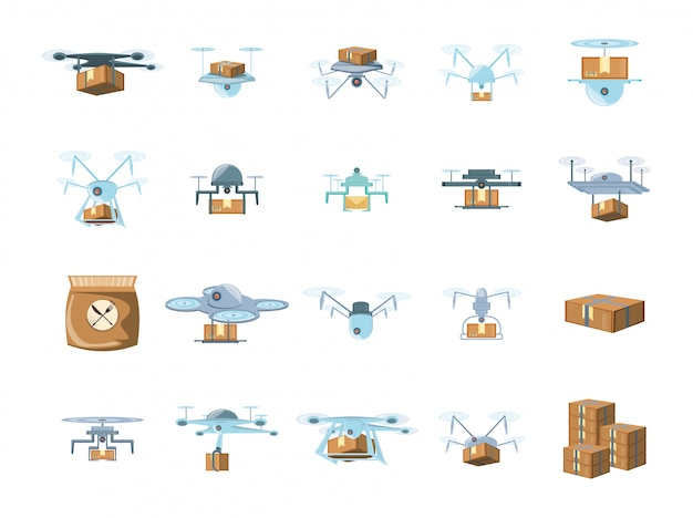 Delivery drones icon set