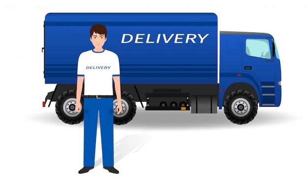 Delivery employee in uniform and company truck on white