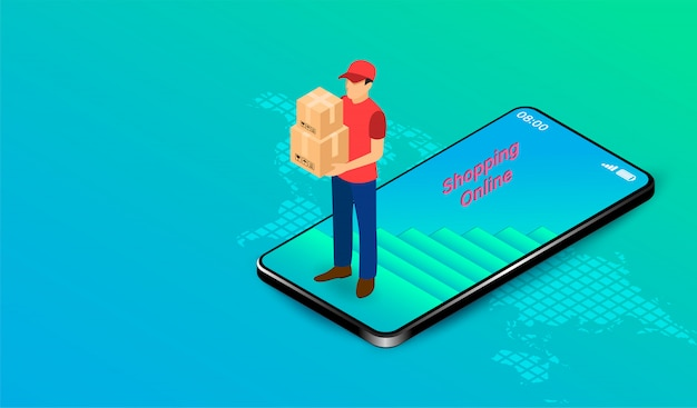 Delivery express by parcel delivery person on mobile application with gps. online food order and package in e-commerce by website. isometric flat design. illustration
