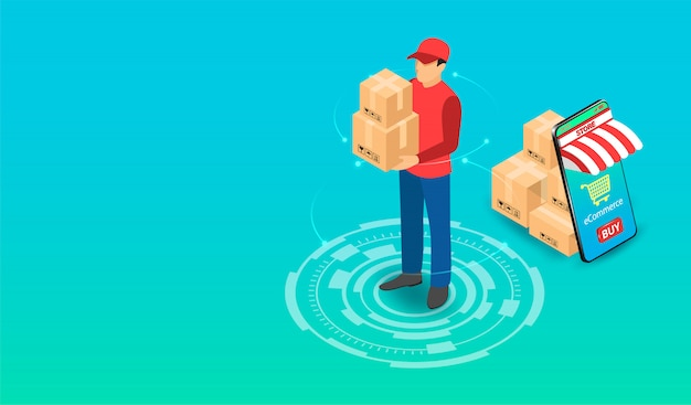 Delivery express by parcel delivery person with ecommerce system on smartphone. isometric flat design. illustration
