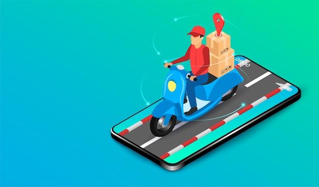 Экспресс-доставка лицом, доставляющим посылки на самокате, через систему электронной коммерции на смартфоне. изометрический плоский дизайн. иллюстрация