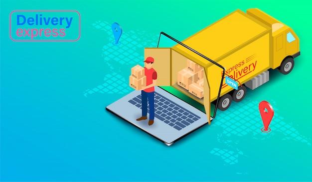 Доставка экспресс посылкой с грузовиком на компьютер ноутбук с gps. онлайн заказ еды и упаковки в интернет-магазине по всему миру. изометрические плоский дизайн.