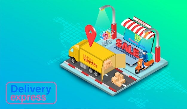 Delivery express by truck and scooter on computer laptop with gps. online food order and package in e-commerce by website global. isometric flat design.