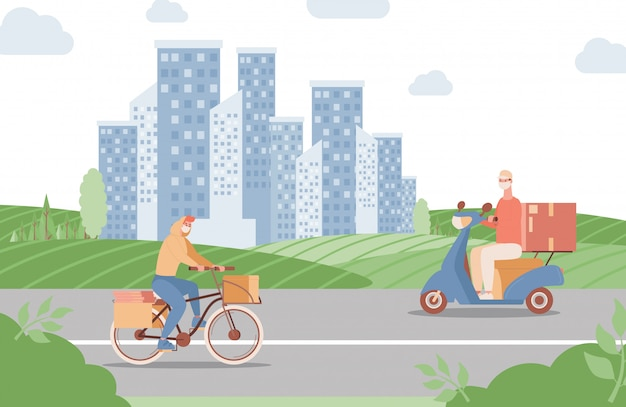 Delivery express service in city flat illustration. men riding on bike and scooter and deliver food or goods.
