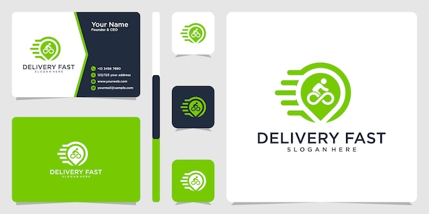 Delivery fast logo and business card design template