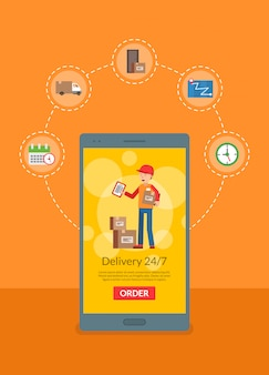 Delivery flat elements around phone online shopping