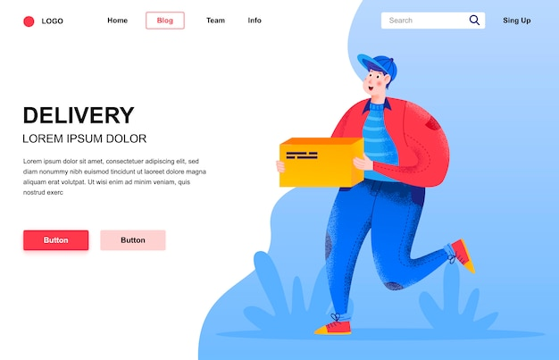 Delivery flat landing page composition.