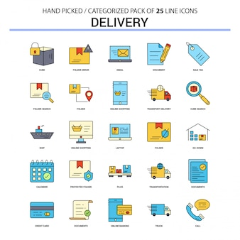 Delivery flat line icon set