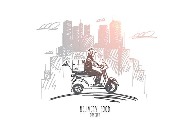 配達食品の概念。食べ物を配達する途中の手描きの配達スクーター、背景にモダンな建物。ピザ男孤立イラスト。