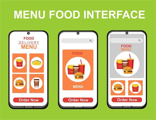 앱용 배달 음식 디자인 키트.