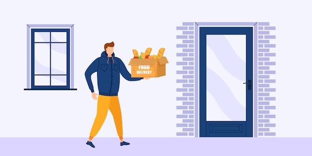 Доставка еды домой, потому что коронавирус covid-19. концепция доставки еды онлайн, отслеживание заказа онлайн. курьер мужчин с коробкой в руках. иллюстрации.