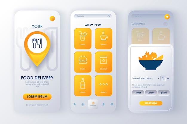 Доставка еды уникальным неоморфным набором для апп. онлайн сервис заказа еды с меню и описанием ресторана. интерфейс службы экспресс-доставки, набор шаблонов ux. графический интерфейс для отзывчивого мобильного приложения.