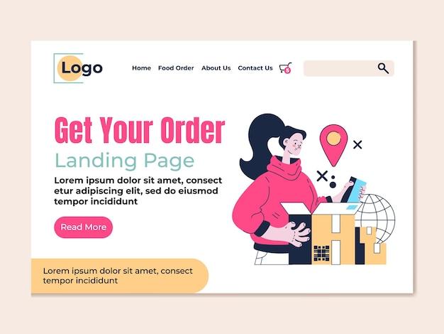 Доставка получить ваш заказ целевой страницы вектор плоский современный дизайн