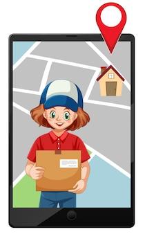 配達の女の子またはタブレットの地図画面で宅配便