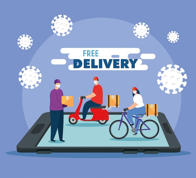 Delivery of goods during the prevention of coronavirus, app smartphone with courier workers using face mask   illustration design