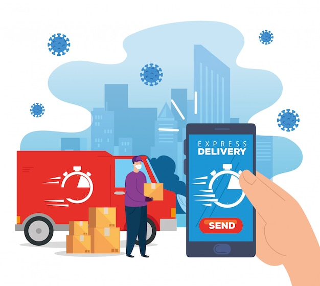 Delivery of goods during the prevention of coronavirus, courier worker using face mask with delivery truck transportation   illustration design