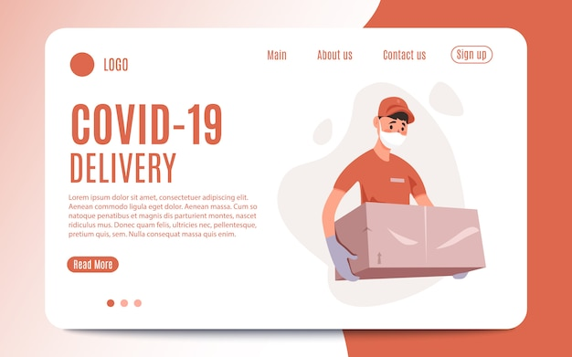Delivery of goods during the prevention of coronavirus, covid-19. courier in a face mask with a box in his hands. portrait from the waist up.vector flat illustration