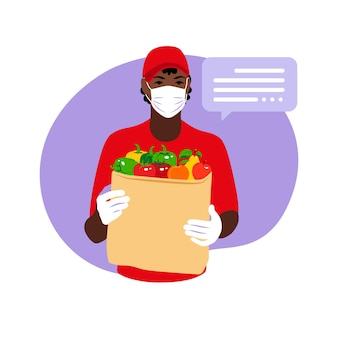 Delivery of goods during the prevention of coronavirus flat illustration