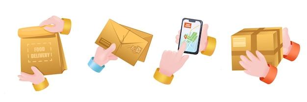 Набор руки графической концепции доставки. человеческие руки держат посылки в сумке или картонной коробке, письма в конвертах, мобильный телефон с онлайн-приложением с отслеживанием. векторная иллюстрация с 3d реалистичными объектами