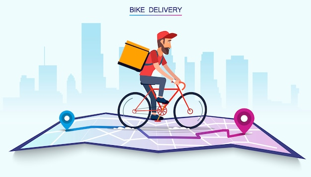 Delivery, the guy on the bike carries the parcel. urban landscape. courier driving bike fast food food. flat design vector illustration.