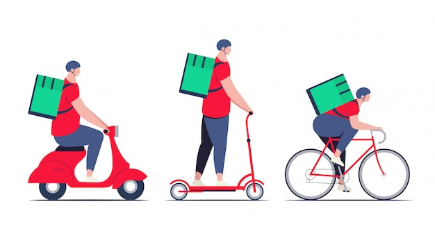 Delivery guy, courier in red shirt with food delivery backpack on different transport as bicycle, electric scooter and moped. delivery service concept. minimalistic flat illustration.