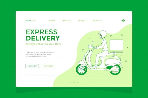 Delivery guy on a scooter landing page concept illustration