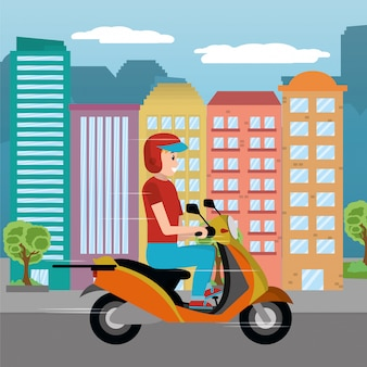 Delivery guy in scooter