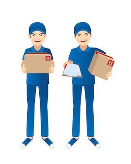 Delivery guy sending parcel