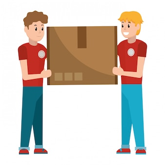 Delivery guys with box