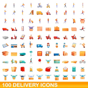 Delivery icons set. cartoon illustration of  delivery icons  set  on white background