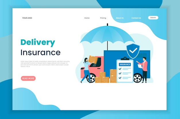 Delivery insurance landing page template