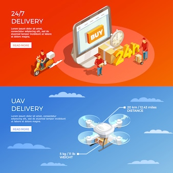 Delivery isometric horizontal banners
