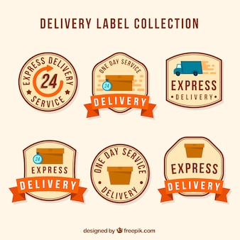 Delivery labels with carton boxes