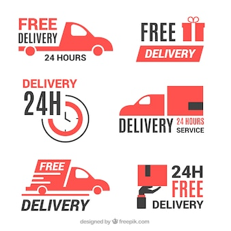 Delivery labels with flat design