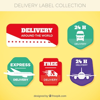 Delivery labels with transports