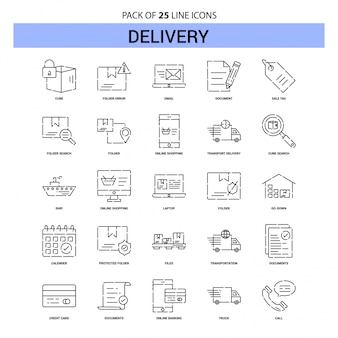 Delivery line icon set - 25 dashed outline style