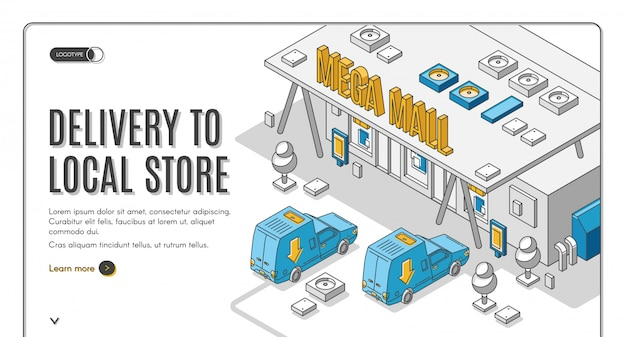 Delivery to local store isometric banner