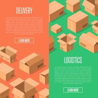 Доставка логистического баннера с упаковочными коробками