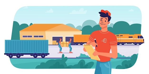 Логистика доставки поездом, отправка посылок, погрузка или разгрузка рабочими