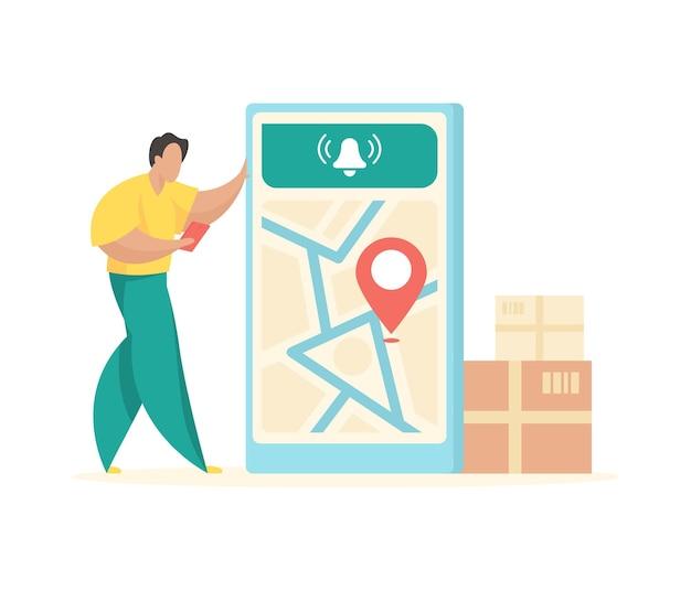 Delivery logistics calculation mobile web maps area vector flat illustration