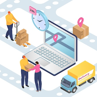 Delivery and logistics, freight transportation, packages shipment isometric
