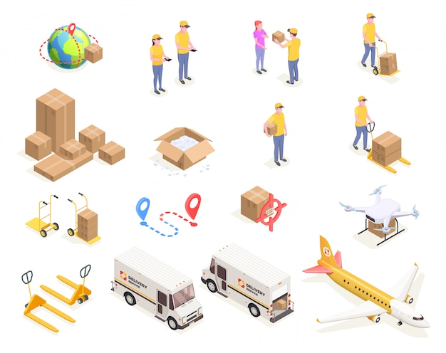 Delivery logistics shipment isometric icons set with isolated images of cardboard boxes and people in uniform  illustration