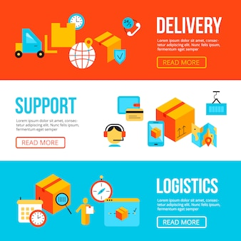 Delivery and logistics web banners design templates