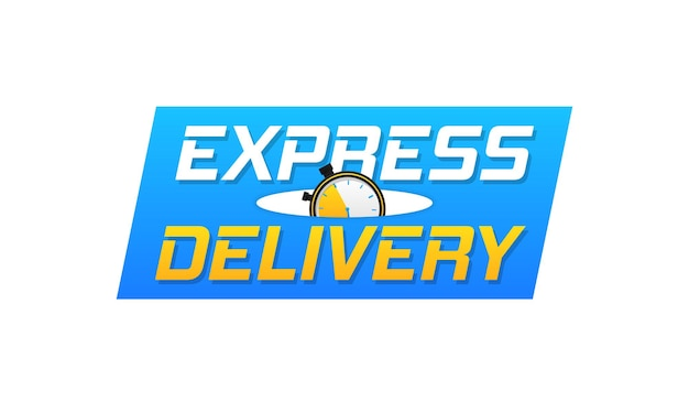 Delivery logo banner express delivery icon for apps and website fast shipping with timer vector