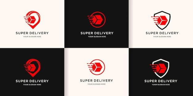 Delivery logo,box in pin, circle, and shield