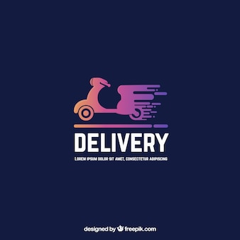 Delivery logo template with motorbike